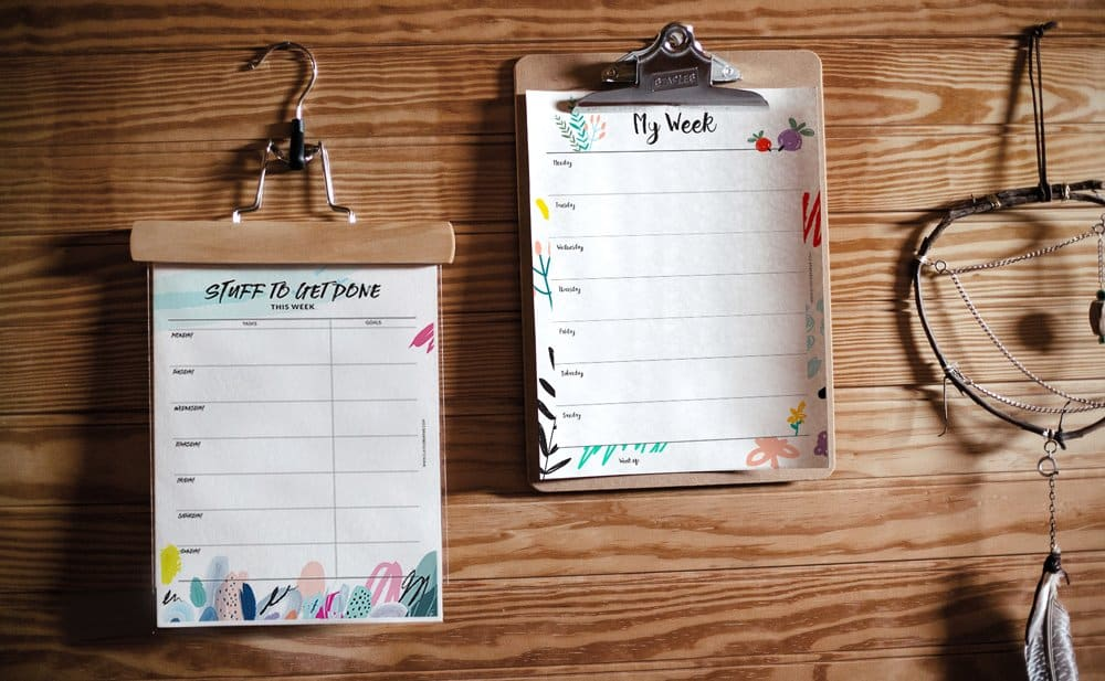 Free weekly planners from Claire Creative