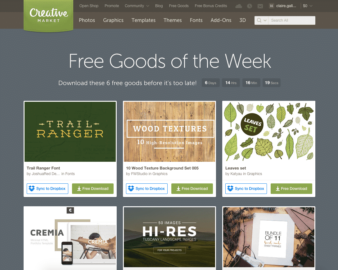 Creative Market Weekly Freebies