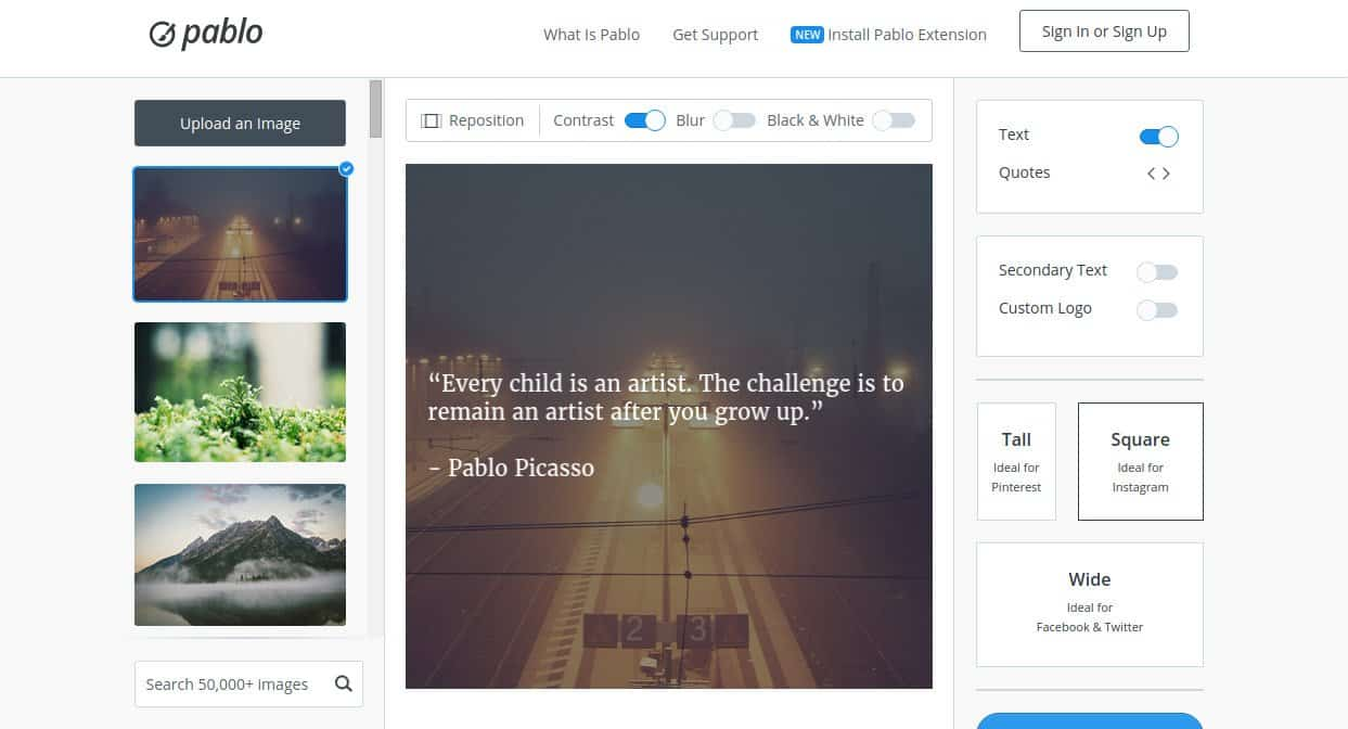 Pablo by Buffer Homepage. Source: buffer.com/pablo